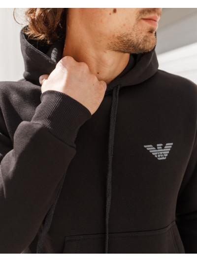 Купить Мужская толстовка - кенгурушка с капюшоном чёрного цвета с логотипом 2060