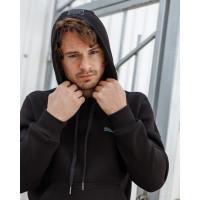 Мужская толстовка - кенгурушка с капюшоном чёрного цвета с логотипом 2072