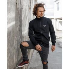 Классичестка мужская кофта-стойка с карманами 2071 чёрного цвета