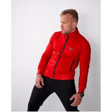 Классичестка мужская кофта-стойка с карманами 2071 красного  цвета