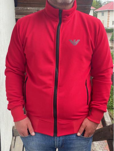 Купить Классичестка мужская кофта-стойка с карманами 2071 красного  цвета