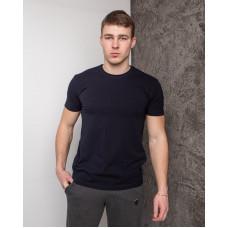 Мужская футболка  из стрейч-хлопка тёмно синяя 2012 (1812) без принта