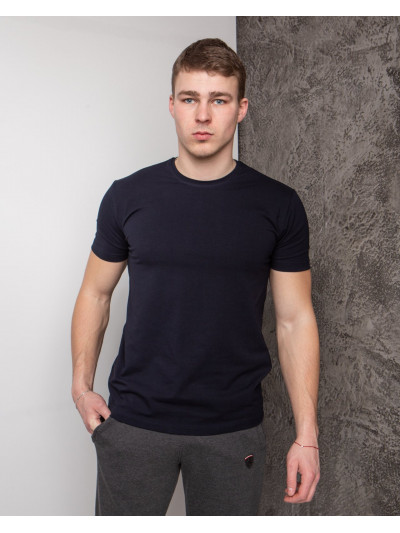 Купить Мужская футболка  из стрейч-хлопка тёмно синяя 2012 (1812) без принта