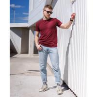 Мужская футболка  из стрейч-хлопка 2012(1812) без принта бордовая
