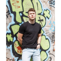 Мужская трикотажная футболка 2019 ARMANI чёрного цвета