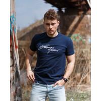 Мужская трикотажная футболка 2019 ARMANI тёмно синего цвета