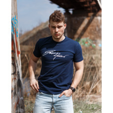 Мужская трикотажная футболка ARMANI тёмно синего цвета