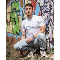 Мужская трикотажная футболка 2019  ARMANI белого цвета
