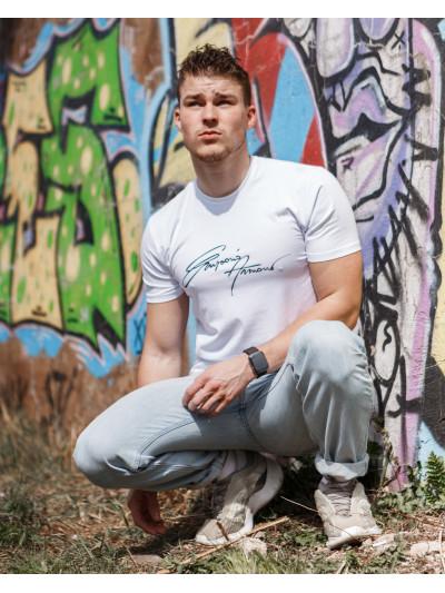 Купить Мужская трикотажная футболка ARMANI белого цвета