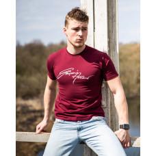 Мужская трикотажная футболка 2019 ARMANI бордового цвета