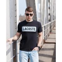 Мужская трикотажная футболка 2020 LACOSTE  чёрного цвета