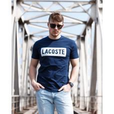 Мужская трикотажная футболка 2020 LACOSTE  тёмно синего цвета