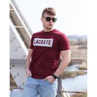 Мужская трикотажная футболка 2020 LACOSTE  бордового цвета