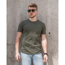 Мужская футболка  из стрейч-хлопка 2012(1812) без принта оливковая