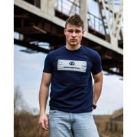 Мужская трикотажная футболка 2021 PHILIP PLEIN тёмно синего цвета