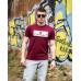 Купить Мужская трикотажная футболка PHILIP PLEIN бордового цвета