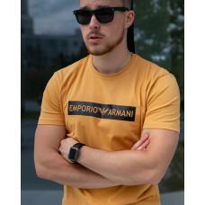 Мужская трикотажная футболка 2022  ARMANI горчичного цвета