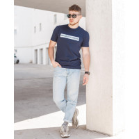 Мужская трикотажная футболка 2022 ARMANI тёмно синего цвета