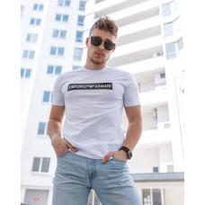 Мужская трикотажная футболка 2022 ARMANI белого  цвета