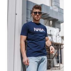 Мужская трикотажная футболка 2023 Spirit Nasa  тёмно синего  цвета