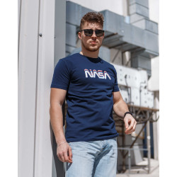 Мужская трикотажная футболка Spirit Nasa  тёмно синего  цвета