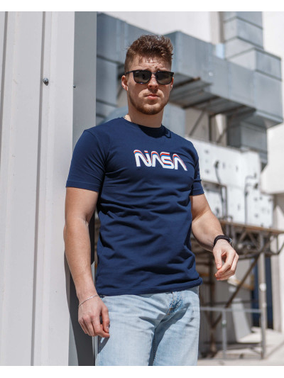 Купить Мужская трикотажная футболка Spirit Nasa  тёмно синего  цвета