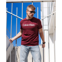 Мужская трикотажная футболка 2024 Calvin Klein  бордового цвета