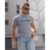 Мужская трикотажная футболка 2024 Calvin Klein  светло серого цвета