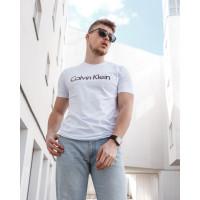 Мужская трикотажная футболка 2024 Calvin Klein  белого цвета