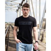 Мужская трикотажная футболка  2025 Tommy Hilfiger чёрного цвета