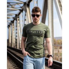 Мужская трикотажная футболка 2025 Tommy Hilfiger оливкового цвета