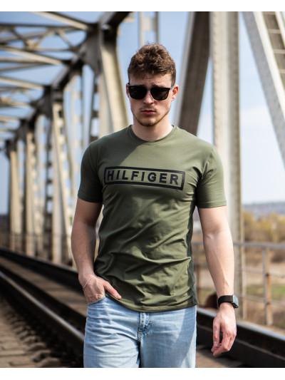 Купить Мужская трикотажная футболка Tommy Hilfiger оливкового цвета