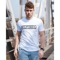 Мужская трикотажная футболка 2025 Tommy Hilfiger белого цвета