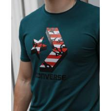 Мужская трикотажная футболка 2030 Converse зелёного цвета