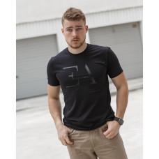 Мужская трикотажная футболка из стрейч-хлопка 2031 чёрная