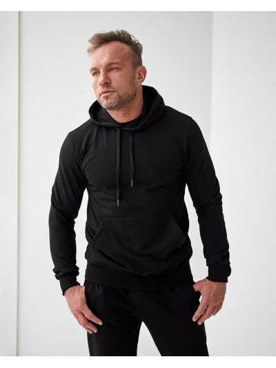 Купить Мужское весеннее худи 2102 чёрного цвета