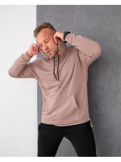 Базовое мужское трикотажное худи формата Oversize 2117 коричневого цвета