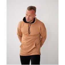 Базовое мужское трикотажное худи формата Oversize 2117 горчичного цвета