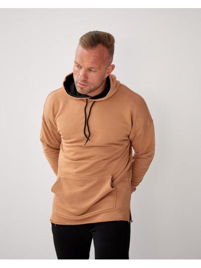 Купить Базовое мужское трикотажное худи формата Oversize 2117 горчичного цвета