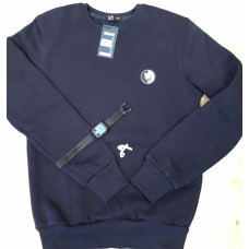 Тёплый мужской свитшот 1843 Pitbul logo в тёмно синем цвете