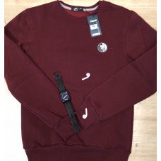 Тёплый мужской свитшот 1843 Pitbul logo в цвете бордо