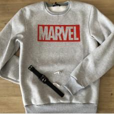 Тёплый мужской свитшот MARVEL в цвете серый меланж