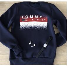 Тёплый мужской свитшот TOMMY в цвете тёмно синий