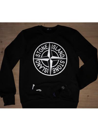 Купить Тёплый мужской свитшот STONE ISLAND в чёрном цвете